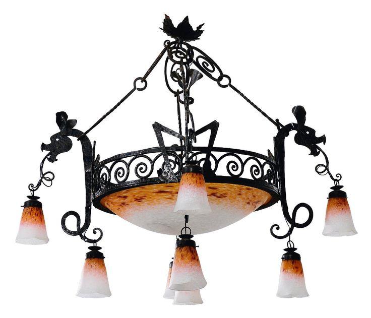 Lustre Fer forgé, verre Signé Carion sous la monture, Scneider sur la verrerie Vers 1900