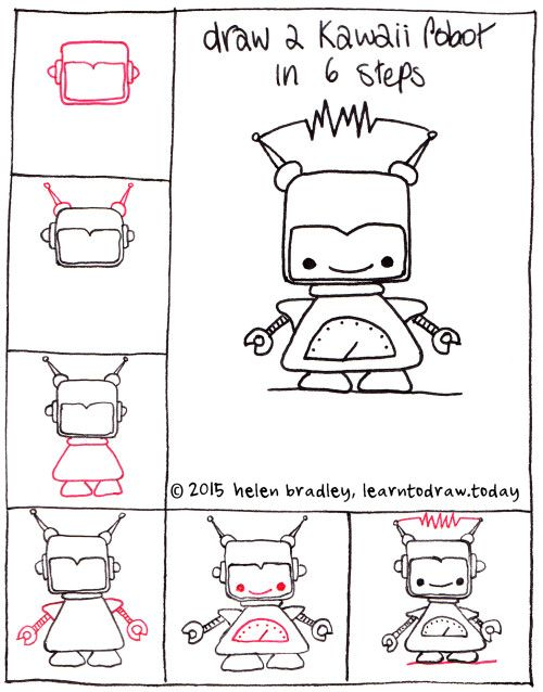 Draw a cute kawaii robot step by step
