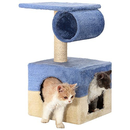 Ollieroo Designed for Kittens 2 Doors Small Cat Tree Condo Furniture Sisal Scratching Post Cat Cube for Kittens Cats like to hide Blue Beige -- Click image to review more details.