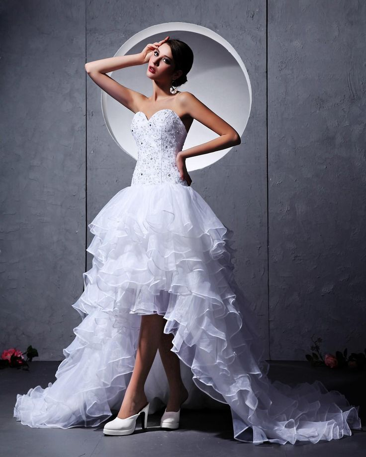 Lace Beading Ruffles Flower Sweetheart Asymmetrical Mini Wedding Dress