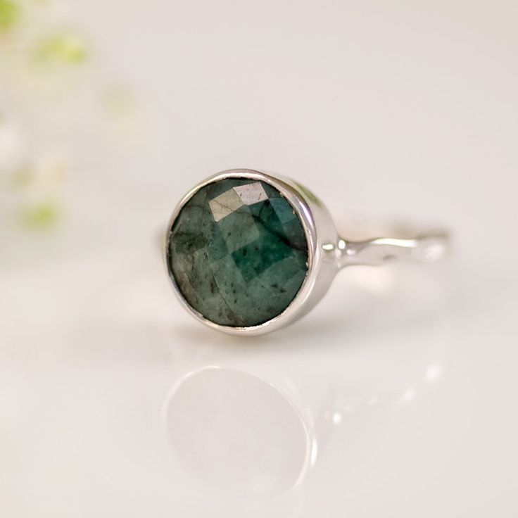 Raw Emerald Ring Silver, May Birthstone Ring, Stacking Ring, Natural Emerald Ring, Sterling Silver Ring, Round Ring, Gift for Her by delezhen on Etsy https://www.etsy.com/listing/94128892/raw-emerald-ring-silver-may-birthstone