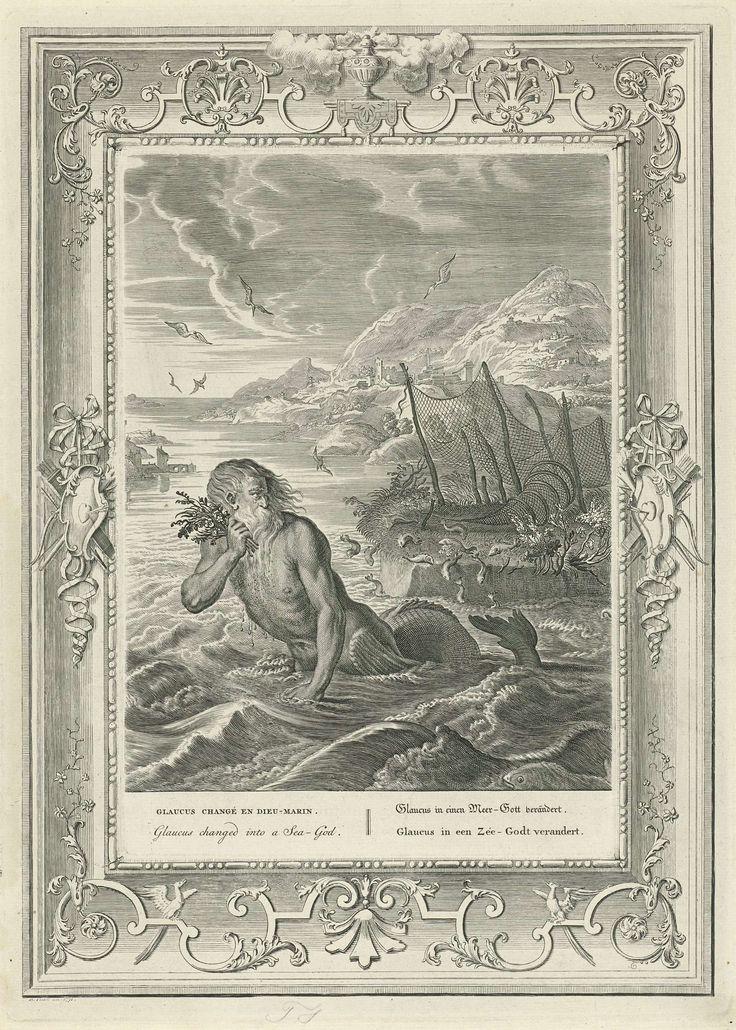 anoniem | Glaucus verandert in een zee-centaur, workshop of Bernard Picart, 1731 | De visser Glaucus verandert na het eten van toverkruiden in een zee-centaur. Hij zwemt met een kronkelende vissenstaart door de golven. In de marge de titel in het Frans, Engels, Duits en Nederlands. De voorstelling is gedecoreerd met een ornamentele rand.