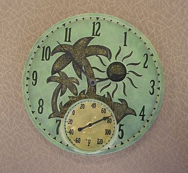 a touch of class palm tree  decor | 14 Inch Tropical Island Clock / Thermometer