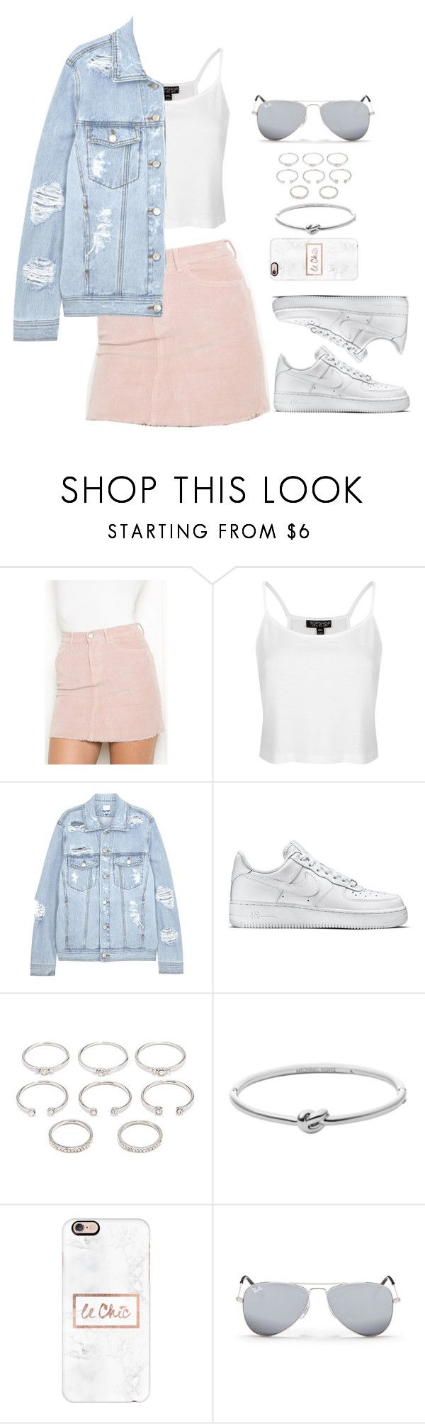 """""""Untitled #120"""" by manerefortis ❤ liked on Polyvore featuring Topshop, SJYP, NIKE, Forever 21, Michael Kors, Casetify and Ray-Ban"""