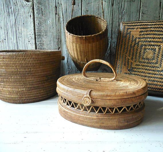 Vintage Asian Basket  Bali Atta Woven Purse /Box Style with