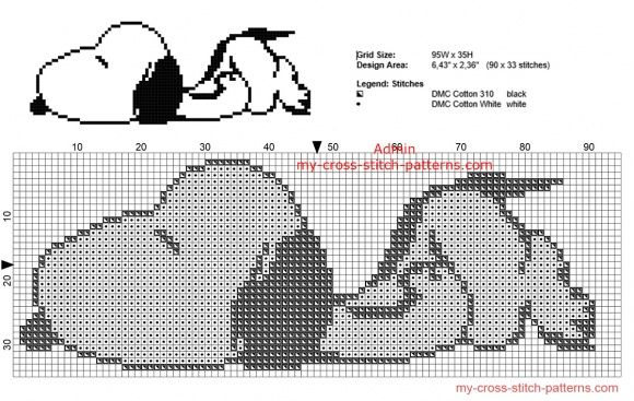 Snoopy sleeping free Peanuts cross stitch pattern small size