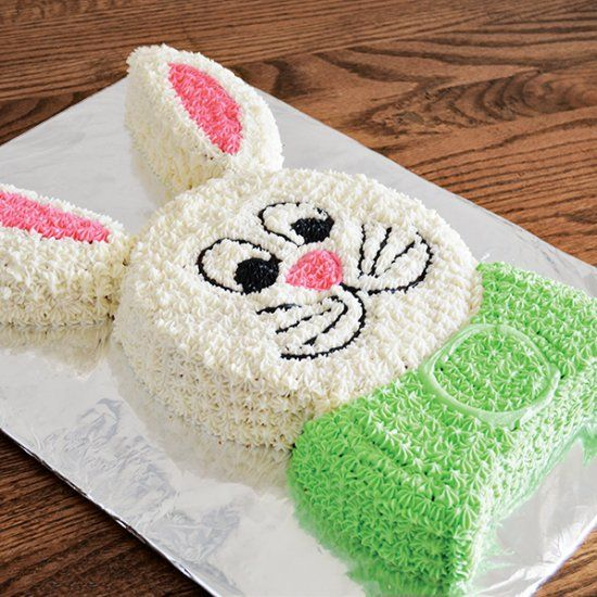 Two round cakes make this adorable Easter bunny. Easy enough for kids!