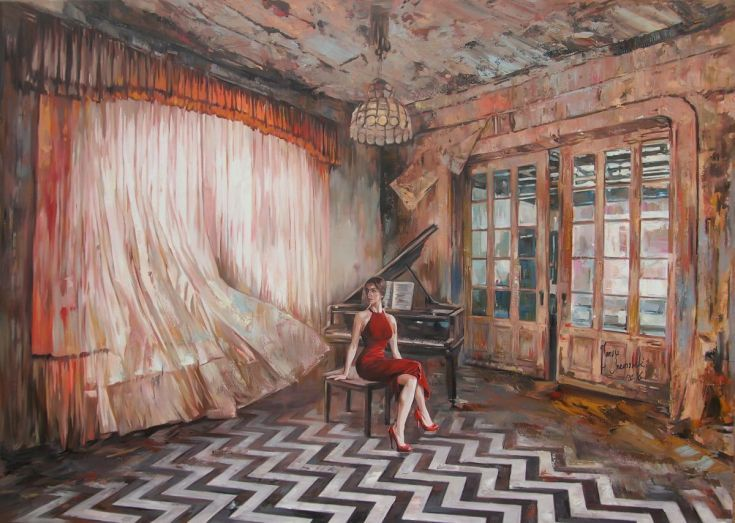 Buy An interrupted music lesson II, Oil painting by Janusz  Orzechowski on Artfinder. Discover thousands of other original paintings, prints, sculptures and photography from independent artists.