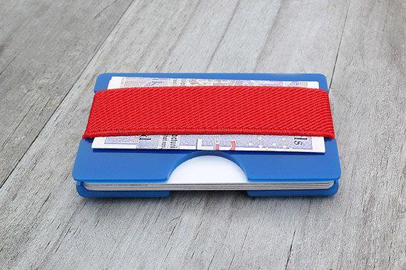 Slim Wallet, Mens Wallet, Blue Acrylic Perspex Wallet, Minimalist Wallet, Minimal Card Wallet, Business Card Holder, Modern Wallet (00BR)