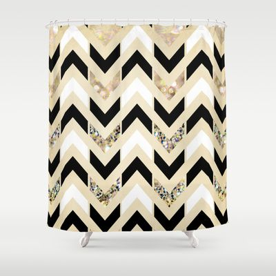 Black White Amp Gold Glitter Herringbone Chevron On Nude