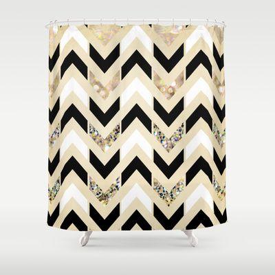 Black, White & Gold Glitter Herringbone Chevron on Nude Cream Shower Curtain by Tangerine-Tane - $68.00