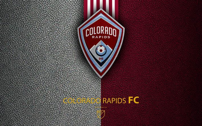 Download wallpapers Colorado Rapids FC, 4K, American soccer club, MLS, leather texture, logo, emblem, Major League Soccer, Colorado, USA, football, MLS logo