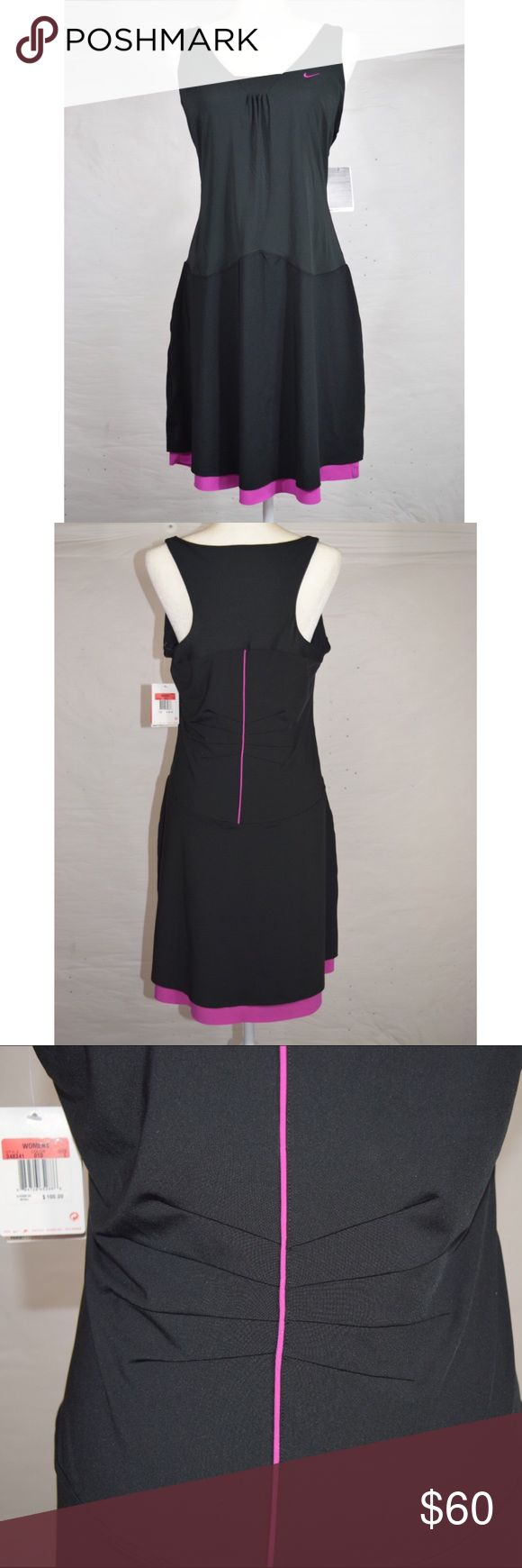 Nike Dri Fit Tennis Dress Nike tennis dress🔹Dri-Fit material🔹Sphere React Cool🔹Serena Williams🔹Built in bra🔹Body is 86% polyester and 14% spandex🔹Black and pink🔹Smoke and pet free home Nike Dresses