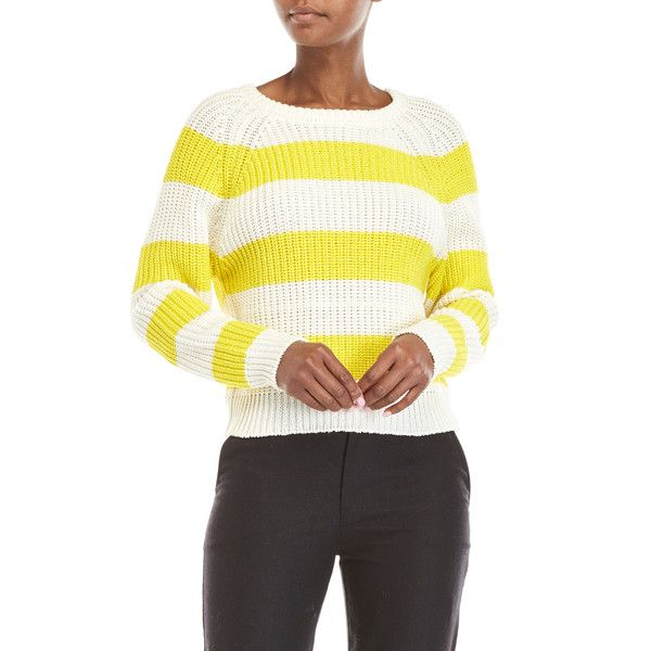 Le Mont St Michel Stripe Crew Neck Sweater (€88) ❤ liked on Polyvore featuring tops, sweaters, yellow, long sleeve tops, white long sleeve sweater, white long sleeve top, striped long sleeve top and yellow sweater
