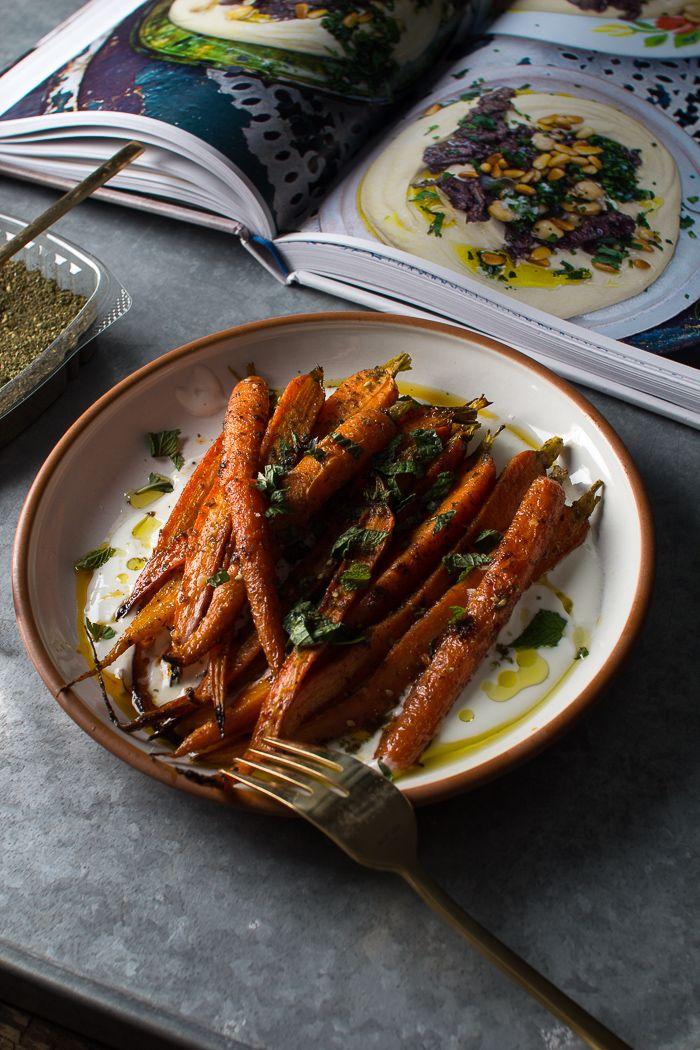 Mmmh.. Carottes roties à l'huile d'olive et de noisette, au yaourt, citron et menthe! Flourishing Foodie