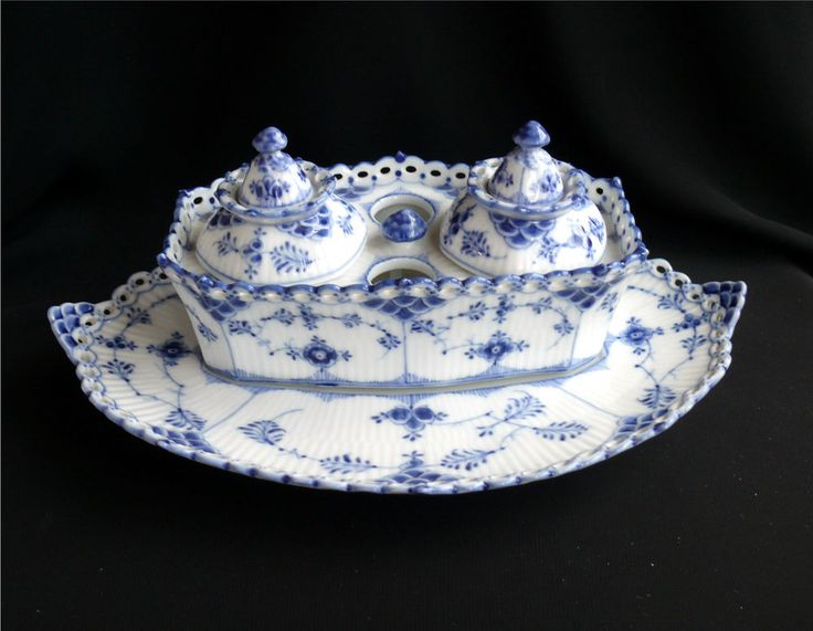 RARE Royal Copenhagen Blue Fluted Full Lace Writing Set Inkwell Desk Set .----------------------- Sold on eBay for $576.37 including shipping