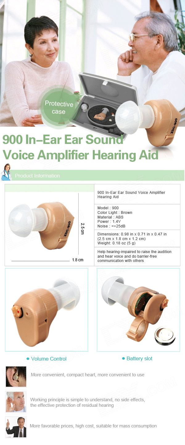 In-Ear Ear Sound Voice Amplifier Hearing Aid - Light Brown (1 x A312) - Free Shipping - DealExtreme