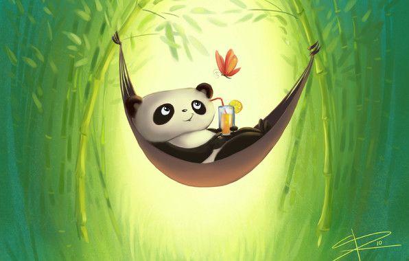 Обои картинки фото рисунок, панда, гамак, отдых, бамбук