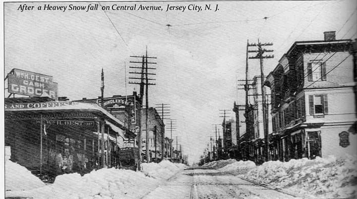 After A Heavy Snow Fall On Central Avenue Jersey City N J C 1910 Postcard Looking North From Bower Street The Building On Jersey City City Hudson County