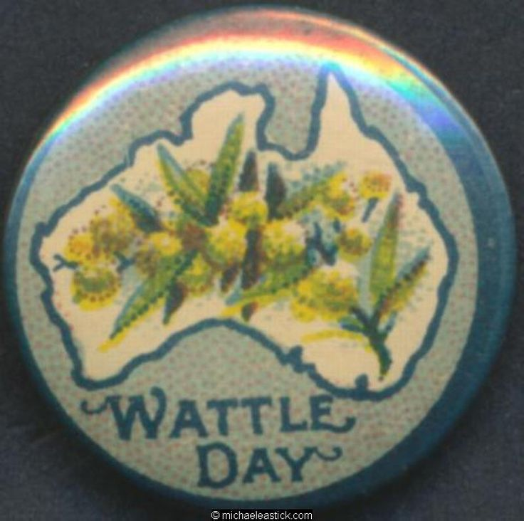 Button badge of Wattle Day.