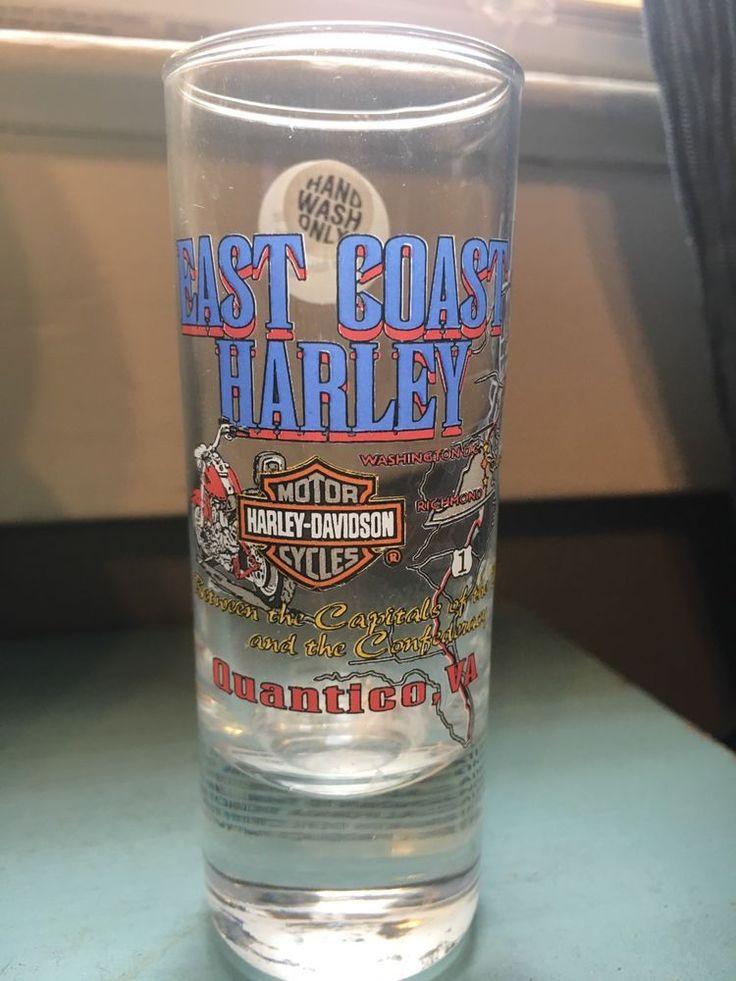 Harley Davidson Motorcycles Double Shot Glass East Coast Harley Quantico VA  #HarleyDavidson
