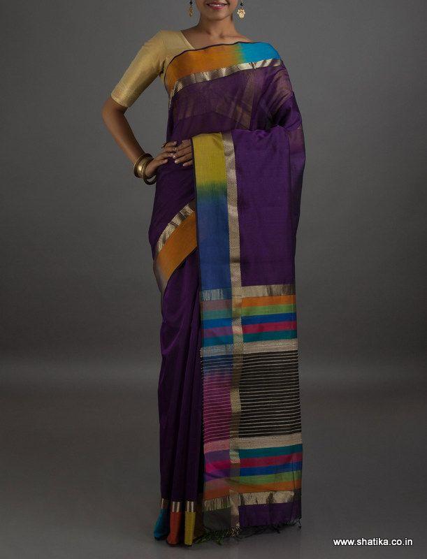 Asmita Multi Stripes #MaheshwariSilkCottonSaree