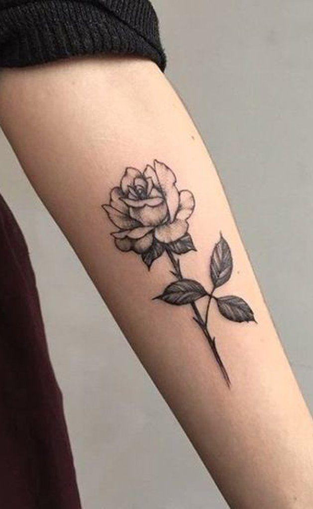 Beliebte schwarze Single Rose Forearm Tattoo-Ideen für Frauen – www.MyBodiArt.com