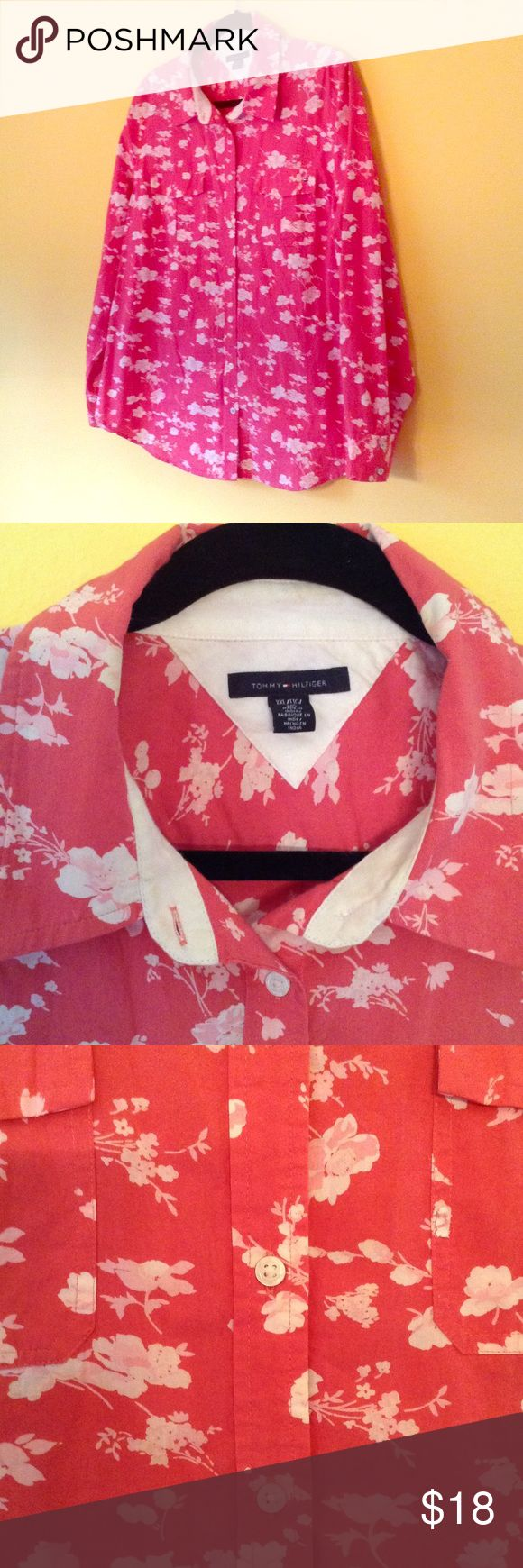 Tommy Hilfiger coral shirt Floral print button down shirt Tommy Hilfiger Tops Button Down Shirts