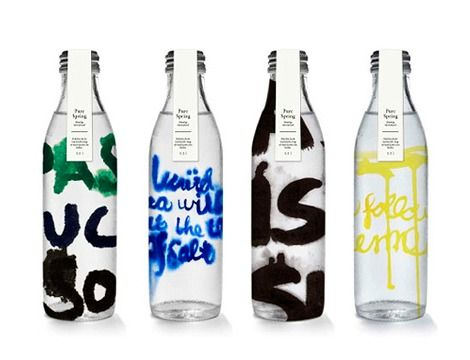 Soaked packaging Experimental packaging proposal for Pure Spring water by Copenhagen based designer Henriette Kruse. I like this concept. It would be interesting to see how this would look with actual type instead of handwriting.