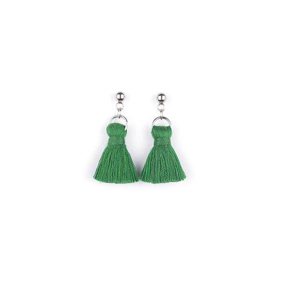 Green Mini Tassel Earrings. Stud Earrings. by casseljewelry #fashion #handmadejewelry #handmade #jewelry #unique #design #casseljewelry #fashionjewelry #jewelrydesign #etsy #ShopEtsy #EtsyFinds #EtsyForAll