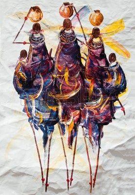 Afrikaanse kunst tribal, geschilderd op textiel, moeders en kinderen voeren potten water Stockfoto - 2163039