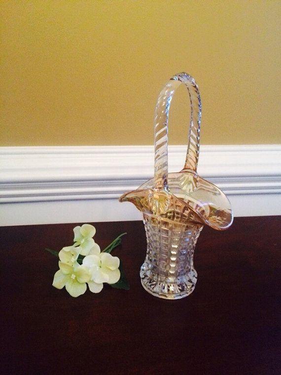 Imperial Marigold Carnival Glass Basket by FelixVintageMarket