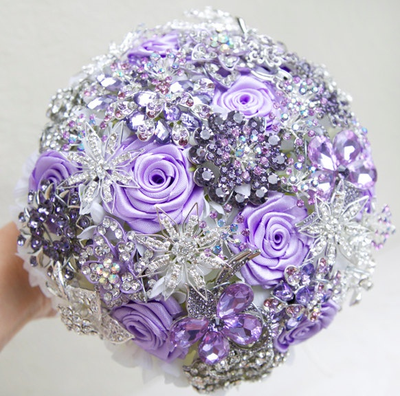 Brooch bouquet. Lilac and silver wedding brooch bouquet, Jeweled Bouquet. Made upon request. $290.00, via Etsy.