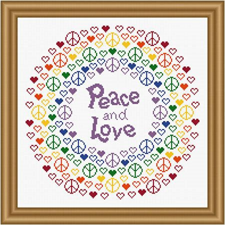 Peace and Love - cross stitch pattern designed by Susan Saltzgiver.