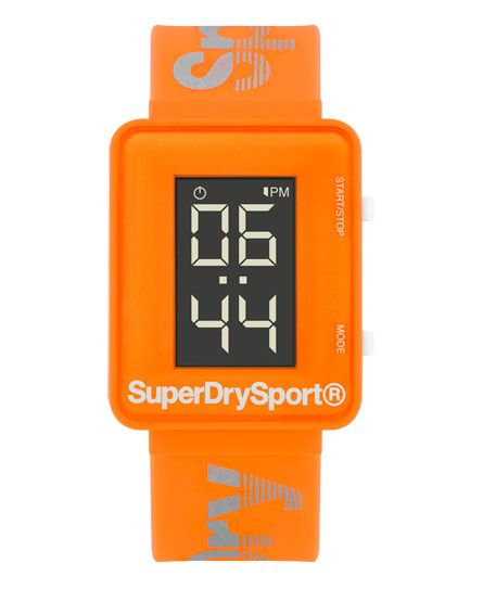 #superdry Superdry Gym Sprint Watch. The Gym Sprint watch has the essential stopwatch feature required for any sporting regime. The large digital display shows a 12/24 hour format as well as day/date. It comes with a soft touch silicone case with dual layer high performance branded silicone strap. 3 ATM water resistant 2 year guarantee 3186049500093KCD007 Orange Condition | new