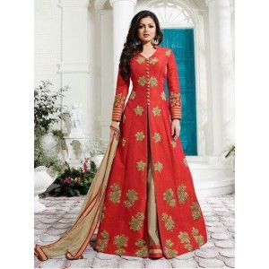 Buy Red & Beige Long Length Party Dress  Online Shopping