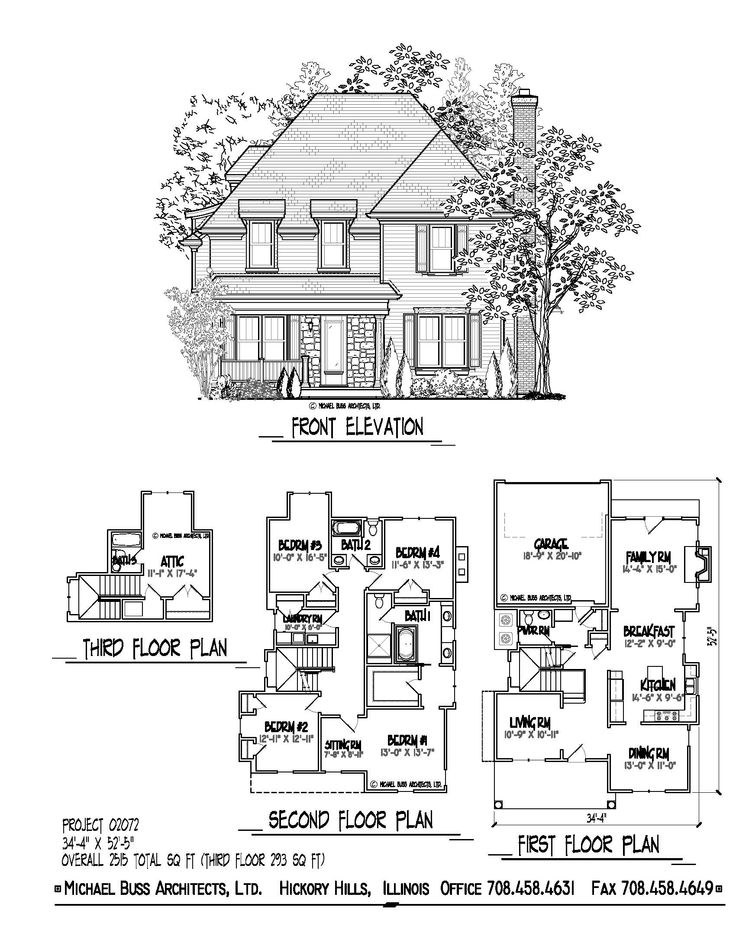 Cottage farm house only 34 39 4 wide optional third floor for Narrow house plans with garage in back
