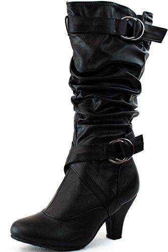 Women's Mid Calf Buckle Strap Pu Leather Comfortable Kitten Heel Knee High Boots Fashion Shoes,Auto-2v2.0 Black Pu 5 Top Moda http://www.amazon.com/dp/B00EQMRIXA/ref=cm_sw_r_pi_dp_zPSTub1B89B3W