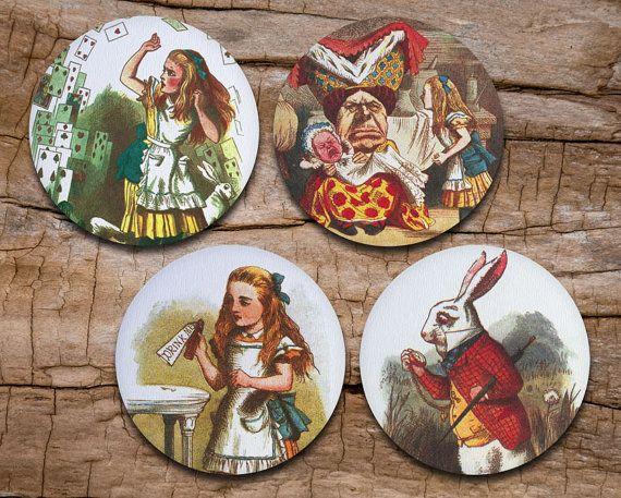 Alice in Wonderland Coaster Set of 4 - Vintage Alice in Wonderland - Drink coasters