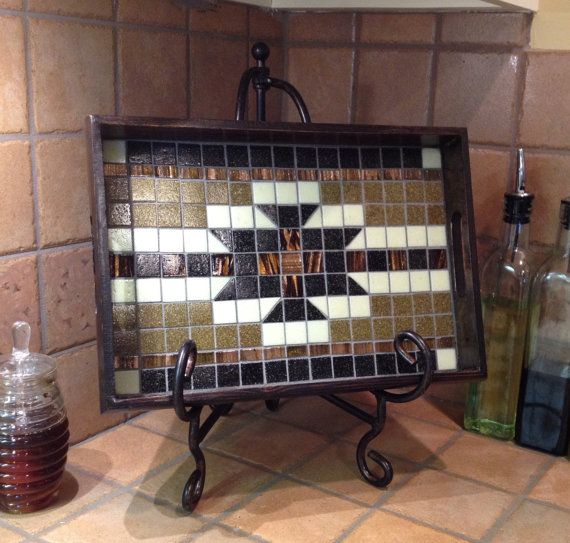 Southwestern Tray Country Tray Mosaic Tray Tile by MoriahMosaic