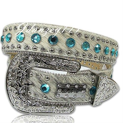 M-L-XL HAIR on HIDE Leather Western Cowgirl Belt BHW Rhinestone White Blue Women