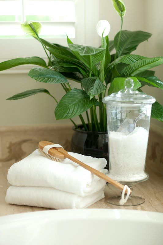 Relaxing vignette in bathroom, epsom salts in a pretty jar, very practical and easy to recreate