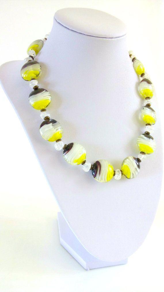 OOAK Lampwork Necklace Lampwork Jewelry Modern by GECHELINE DISCOUNT! Take 15% OFF. Use Code: Take15OFF