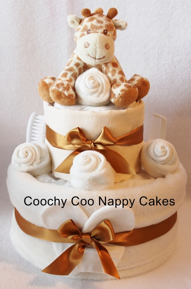 Two Tier version of the Bing Bing Giraffe Nappy cake baby gift range by Coochy Coo Nappy Cakes £40.00