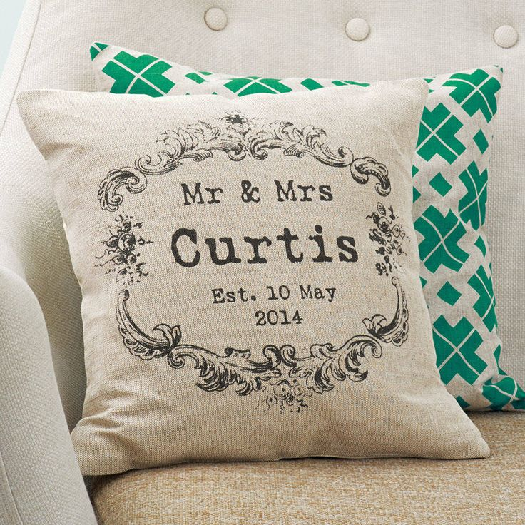 Vintage Style Mr And Mrs Cushion First Wedding Anniversary GiftCotton GiftsAnniversary IdeasSecond