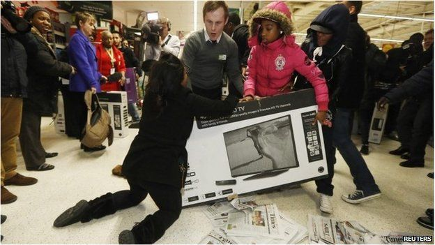 Black Friday Madness: Shoppers Fight Over Flat Screen TVs Video footage shows consumer insanity has spread to UK