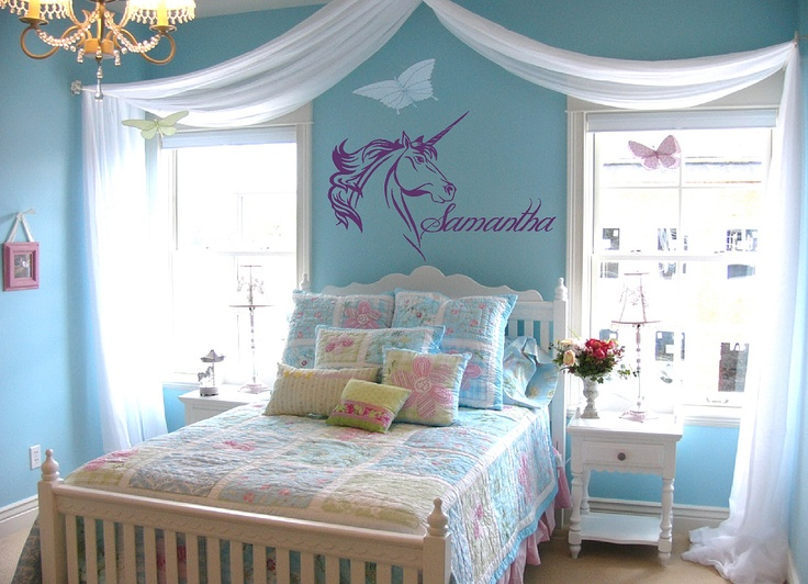 Best Girls Unicorn Bedroom Images On Pinterest Unicorn - How do you put up wall art stickers