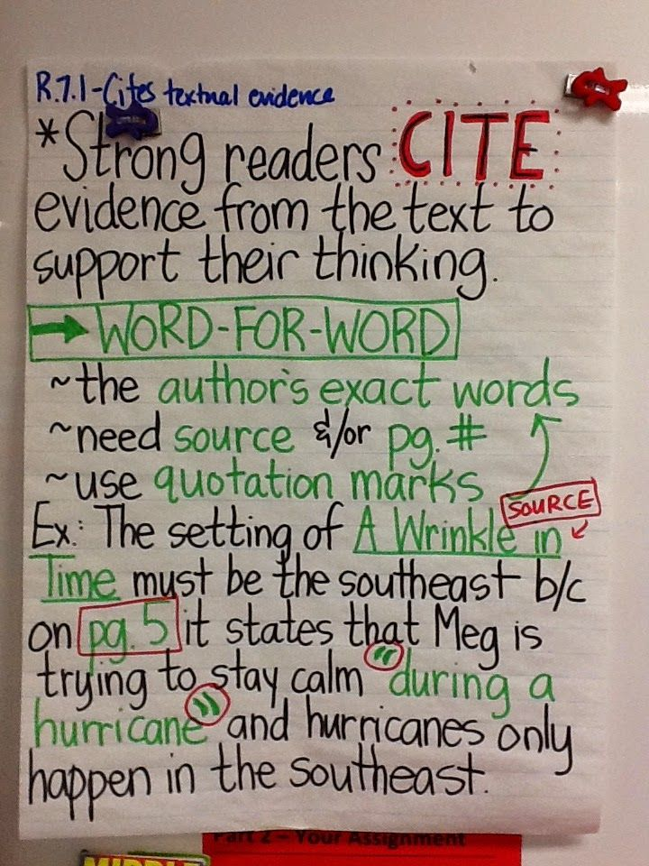 Life in 4B...: R.7.1 - Citing Textual Evidence: Word-for-Word & Paraphrased Support