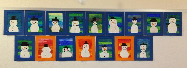 Warme Farben Grundschule : KLASSENKUNST Schneemannbild mit warmen & kalten Farben