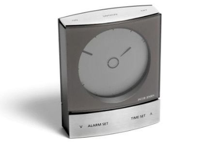 Jacob Jenson wake up clock- a contemporary alarm clock ideal for travelling, with a two-tone alarm which automatically switches on the built in background light.